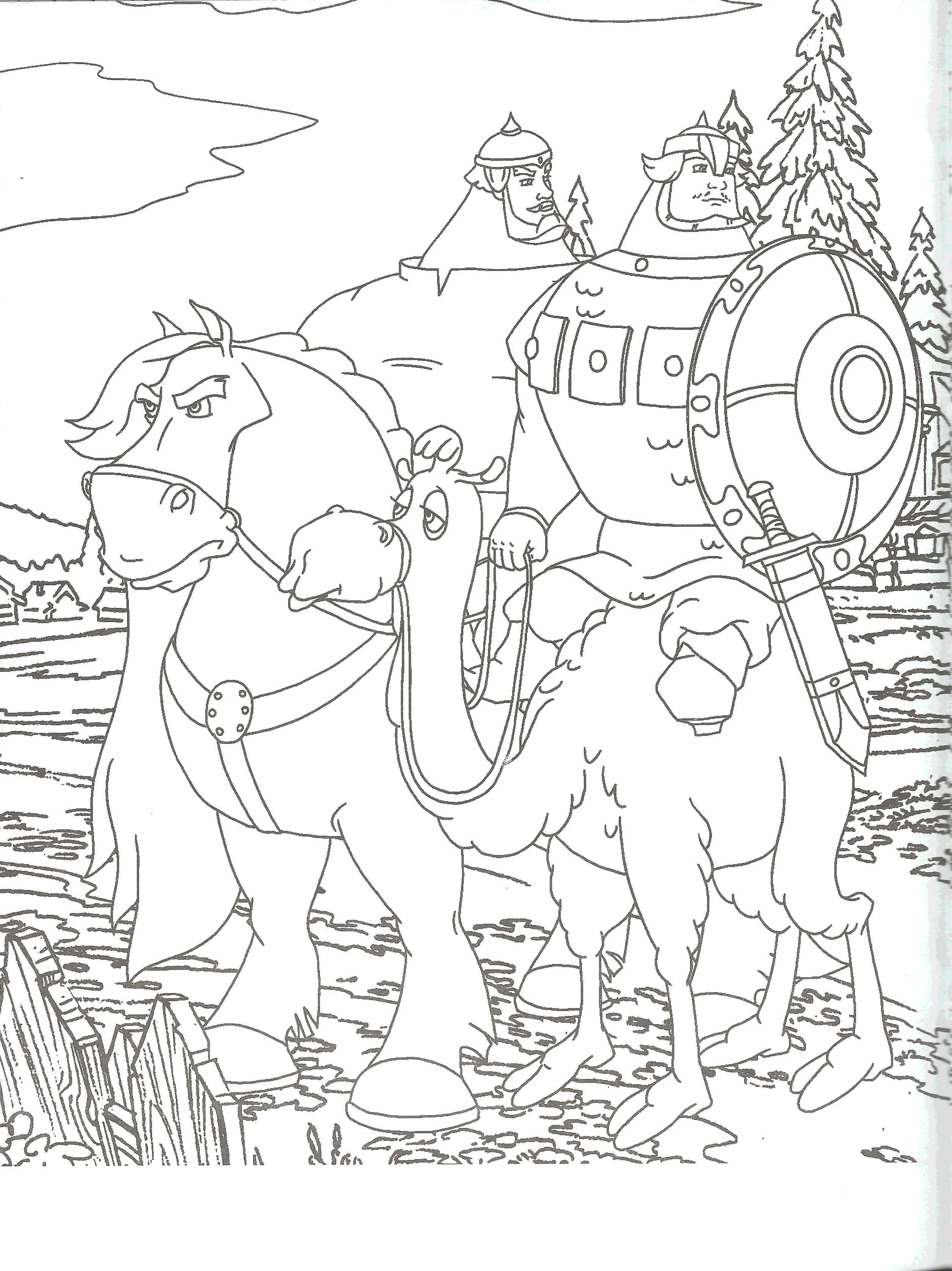 Раскраски Три Богатыря Распечатать